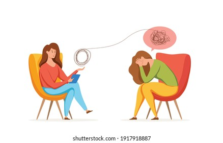 Psychology therapy counseling vector concept. Cartoon illustration of psychotherapy practice therapy session woman sitting and talking with patient with stress, depression or mental problem.