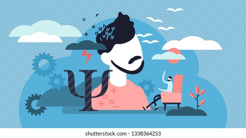 Psychology vector illustration. Flat tiny mental therapy persons concept. Medical social study to help depression, stress or fear. Communication to find problem solution in thinking control sessions.