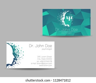 Psychology vector visit card. Modern Sign. Creative style. Design concept. Brand company. Green color isolated on grey background. Symbol for web, print. visiting personal set