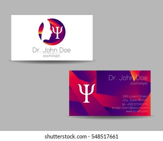 Psychology vector visit card. Modern logo. Creative style. Design concept. Brand company. Violet color isolated on gray background. Symbol for web, print. Visiting personal set illustration