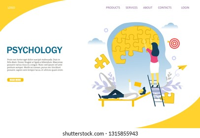 Psychology vector website template, web page and landing page design for website and mobile site development. Woman doing human brain puzzle. Psychology and psychotherapy session, mental treatment.