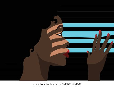 Psychopathology - Mental Health Disorder - Agoraphobia - black woman watching through blinds