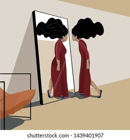 Psychopathology - Mental Health Disorder - Body Dysmorphia Disorder - Lean woman looking in the mirror and selling herself fat