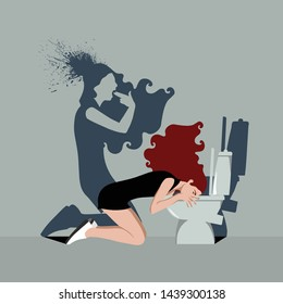 Psychopathology - Mental Health Disorder - Bulimia Nervosa - Woman vomiting in bathroom and her shadow taking shot
