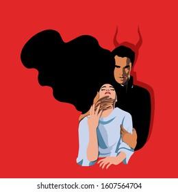 Psychopathology - Mental Health Disorder - Narcissistic Malignant Personality Disorder - demonic man dominating woman