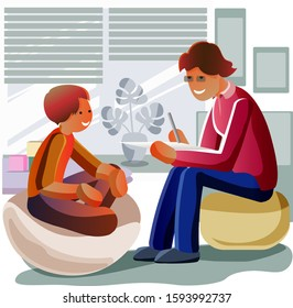 Psychotherapeutic aid for children with mental problems. Flat cartoon vector illustration