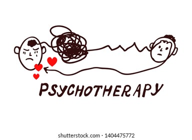 Psychotheraphy concept illustration - sketch style. Vector graphic