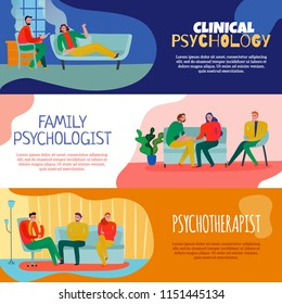 Psychotherapist and psychologist horizontal banners set with family consultation symbols flat isolated vector illustration