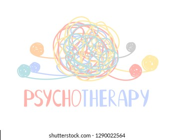 Psychotherapy abstract color tangle of mental disorders. Vector therapy psychology, tangled ball illustration