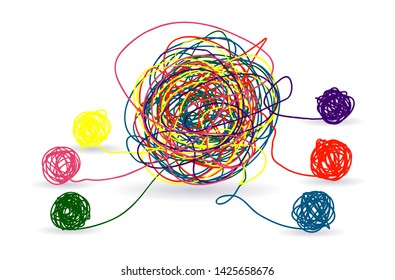 Psychotherapy abstract color tangle of mental disorders. Disentangling psychological disorders. Vector therapy psychology, tangled ball illustration