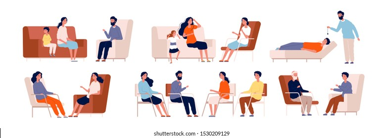 Psychotherapy. Adult counselor family group therapy treatment consulting crowd vector characters collection