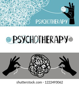 Psychotherapy concept banners set, with human hands untangling thrads, vector illustration