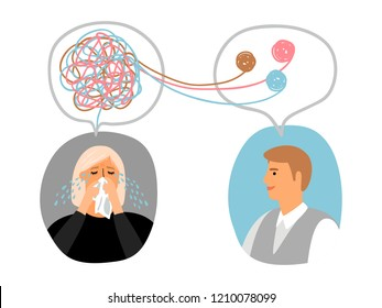 Psychotherapy concept illustration with crying lady and male doctor avatars, vector illustration