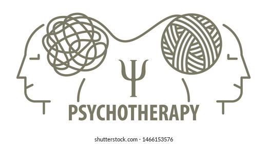 Psychotherapy concept in linear style. Psychologist unravels tangled tangle untangled. Minimalistic line face and tangled tangle. Vector illustration