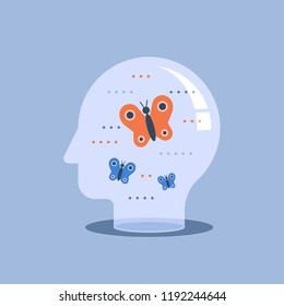 Psychotherapy concept, mental well-being, positive thinking, self awareness and mindfulness, feeling empathy, brain problems, meditation practice, sensitive and emotional, vector icon