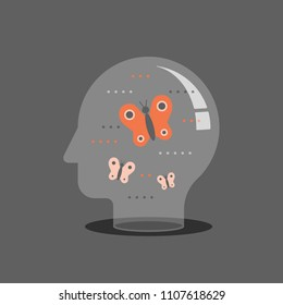Psychotherapy concept, mental wellbeing, self awareness and mindfulness, feeling empathy, social issues, brain problems, meditation practice, control feelings, creative personality, vector icon