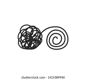 Psychotherapy concept tangled and untangled lines brain metaphor vector illustration