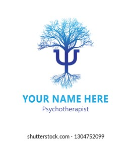 Psychotherapy concept vector illustration on white background - Greek Letter Psi and tree with roots - mental health symbol, can be used by psychotherapist as logo, card, web banner, icon and more