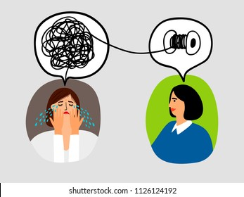 Psychotherapy concept with woman doctor and lady patient crying, vector illustration