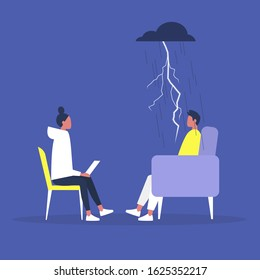 Psychotherapy consulting, a conversation between a doctor and a patient, mental health problems and medical support