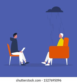 Psychotherapy: A conversation between a doctor and a patient about Mental health.