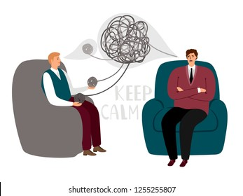 Psychotherapy counsel concept, psychotherapist doctor and male patient talking, vector illustration