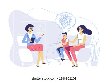 Psychotherapy counseling for child concept. Young psychologist woman and mother with boy patient in therapy session. Treatment of kid stress, addictions and mental problems. Family psychology.