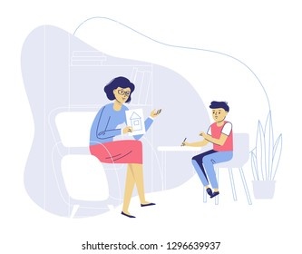 Psychotherapy counseling for child concept. Young psychologist woman and little boy patient in therapy session. Treatment of kid stress, addictions and mental problems. Family psychology.