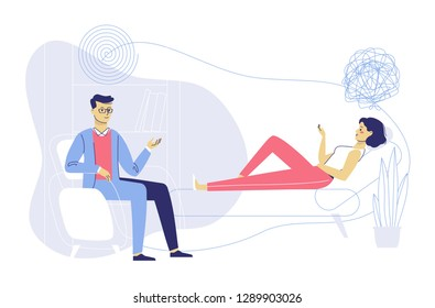 Psychotherapy counseling concept. Psychologist man and young woman patient in therapy session. Treatment of stress, addictions and mental problems.