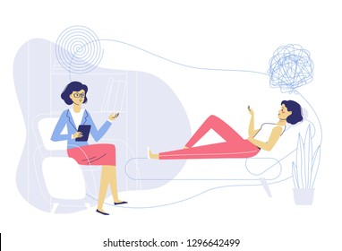 Psychotherapy counseling concept. Psychologist woman and young girl patient in therapy session. Treatment of stress, addictions and mental problems.