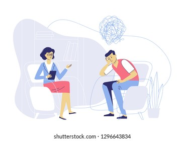 Psychotherapy counseling concept. Psychologist woman and young man patient in therapy session. Treatment of stress, addictions and mental problems.