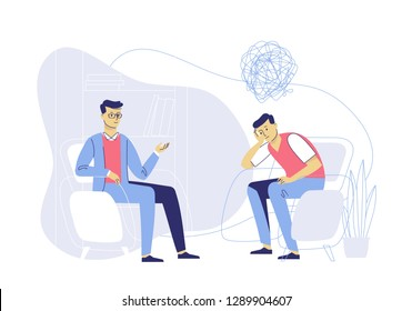 Psychotherapy counseling concept. Psychologist and young man patient in therapy session. Treatment of stress, addictions and mental problems.