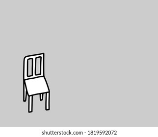Psychotherapy gestalt technic one chair hand drawn vector illustration in cartoon doodle style background