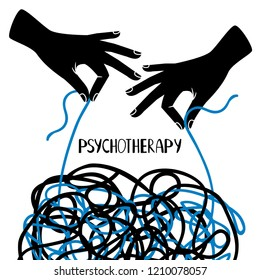 Psychotherapy illustration with hands and tangled thread, vector illustration