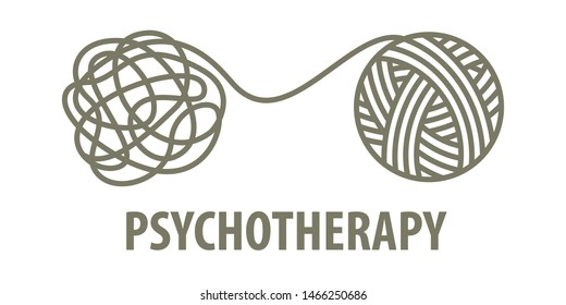 Psychotherapy logo concept in linear style. Psychologist unravels tangled tangle untangled. Vector illustration