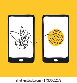 Psychotherapy, online psychiatrist consulting patient via smartphone, help of psychologist, business consulting, mental disorder treatment. Flat line vector illustration.