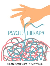 Psychotherapy poster, human hand untangling thread, vector illustration