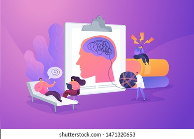 Psychotherapy practice, psychiatrist consulting patient. Mental disorder treatment. Psychologist service, private counseling, family psychology concept. Vector isolated concept creative illustration