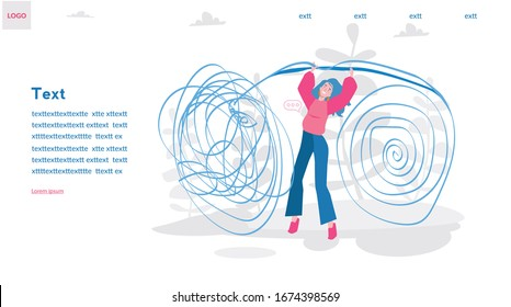 Psychotherapy practice. Woman psychologist with tangled and untangled brain metaphor, Mental disorder treatment , society psychiatry, Vector illustration for web banner, infographics, mobile