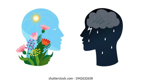 Psychotherapy or psychology support concept. Two heads with different states of consciousness minde - depression with thundercloud and rain and positive mental health mood with sun and flowers. Vector