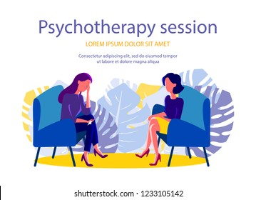 Psychotherapy session. Woman psychologist and woman patient, society psychiatry concept vector illustration