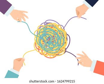Psychotherapy solution vector illustration. Hands untangle psyhology tangle. Psychologist mind tangled therapy.