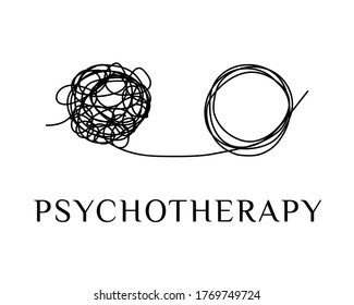 Psychotherapy, stress, depression abstract logo, concept icon. Tangle tangled and untangled. Freehand doodles chaos circles. Problem solving metaphor, difficult situation, chaos and disorder. Vector.