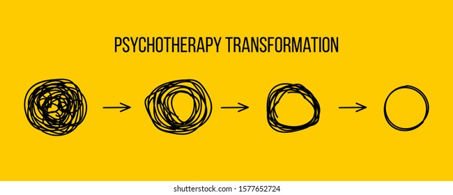 Psychotherapy transformation. Transform, change, evolution icon. Psychoanalysis therapy. Doodle development. Problem solving, thinking, unraveling tangled tangle. Hand drawn business strategy concept.