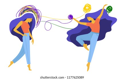 Psychotherapy for women solving women's problems with tangled and untangled brain metaphor social bright picture with the character of a young girl.