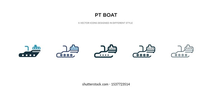 pt boat icon in different style vector illustration. two colored and black pt boat vector icons designed in filled, outline, line and stroke style can be used for web, mobile, ui