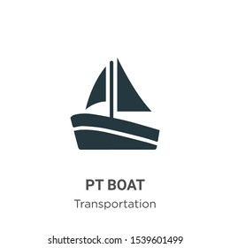 Pt boat vector icon on white background. Flat vector pt boat icon symbol sign from modern transportation collection for mobile concept and web apps design.