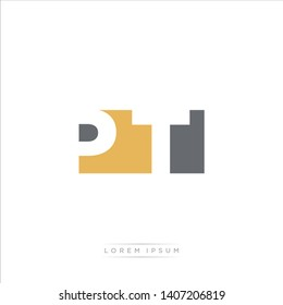 PT Logo Letter with Modern Negative space - Brown and Grey Color EPS 10