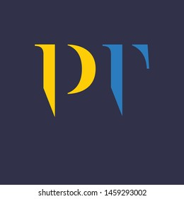 PT logo template. Company logo. Monogram. Letters P and T.