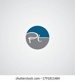 PT P T letter logo design. Initial letter PT linked circle uppercase monogram logo red and blue. PT logo, P T design. pt, p t